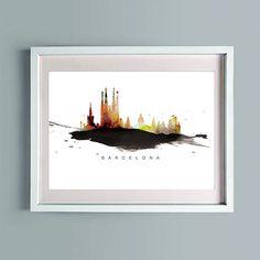 Ciudad, barcelona, Skyline, arte imprimible, arte de descarga inmediata, cartel de decoración de pared, imprimir acuarela