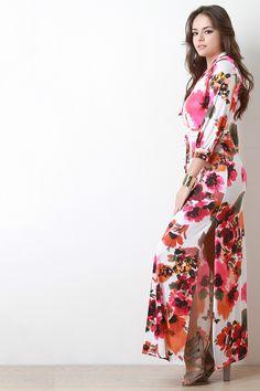 Floral Print Surplice Side Slit Maxi Dress