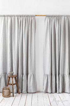 house window grids Rod pocket linen curtain panel with ruffles. Sheer Linen Curtains, Ruffle Curtains, Panel Curtains, Ruffle Trim, Ruffles, Drop Cloth Curtains, Curtain Panels, Farmhouse Curtains, Farmhouse Windows