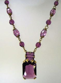 VINTAGE Czechoslovakia Amethyst Faceted Necklace with Fancy Pendant from ruthsantiques on Ruby Lane