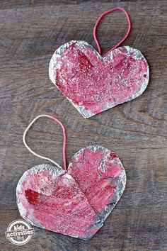 Adorable DIY Painted Foil Hearts