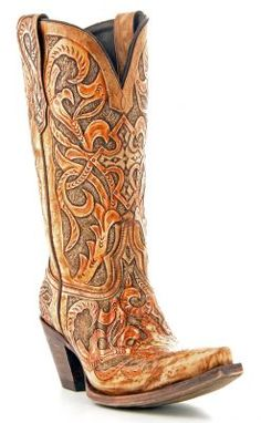 Womens Lucchese Hand Tooled Boots Caramel via @Chris Cote Cote Cote Allen sutton Boots