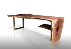 Custom made, live edge tables, reclaimed wood furniture, tables and desks made from fallen trees in Brooklyn New York, by designer and artist Paul Kruger.