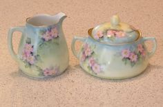 Vintage antique Ohme Silesia German porcelain Victorian Alice pattern hand painted dogwood flowers cream and sugar bowl set