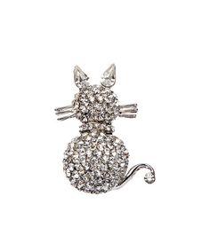 Look what I found on #zulily! Silvertone Cat Brooch #zulilyfinds