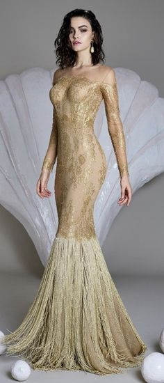 The fabrics are gold and nude. - corset construction - french lace polyester - lining polyamide - fringes polyester - zip fastening at the back Style Haute Couture, Couture Fashion, Vogue, Costume, Types Of Dresses, Designer Gowns, Formal Gowns, Colorful Fashion, Beautiful Gowns