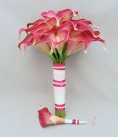 Real Touch Calla Lily Bridal Bouquet Calla Lily Bridal Bouquet, Wedding Decorations, Wedding Ideas, Pink Silk, Bouquets, Wedding Flowers, Dream Wedding, Touch, Unique Jewelry