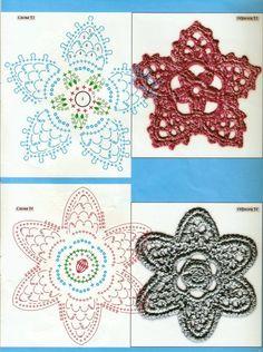 Crochet : fleurs, volutes et feuilles