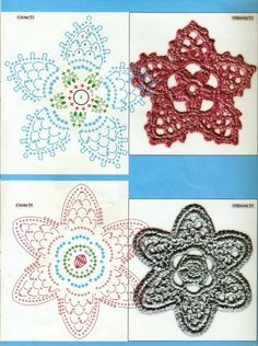 crochet beauty flowers and leaves motiveS -- MANY here | make handmade, crochet, craft