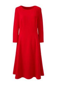 Women's+3/4+Sleeve+Ponté+Flounce+Dress+from+Lands'+End