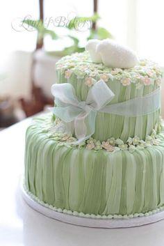 Mint 2 Tier Wedding Cake with lovebirds & flowers Gorgeous Cakes, Pretty Cakes, Wedding Dress Cake, Wedding Cakes, Elegant Cake Design, Fondant, Rabbit Cake, Bridal Shower Cakes, Spring Wedding Inspiration