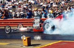 "CHRR - For the first time in 38 years, ""Stormin Norman"" Weekly smokes the tires in the ""Frantic 4"" A/FD at the 2001 CHRR. Needless to say, the SRO crowd went wild. Tim Hanaseth photo"