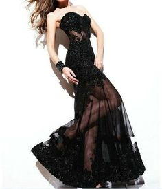 Sexy Black Lace Sequins Long Wedding Cocktail Evening Prom Dress Sz 4 6 8 10 12   eBay