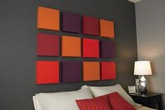 easy wall art. buy several canvas paint them solid colors of choice