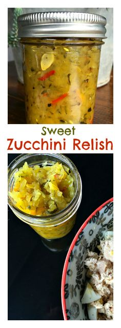 This Sweet Zucchini Relish is easy to make with grated zucchini and onions and can in the summer months! Delicious served many ways! Canning Pickles, Eggplant Recipes, Meals In A Jar, Frozen Meals, Canning Recipes, Chutney, Recipe Zucchini, Love Food, Dressings
