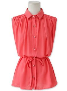 Rose Red Lapel Sleeveless Belt Chiffon Blouse US$21.13