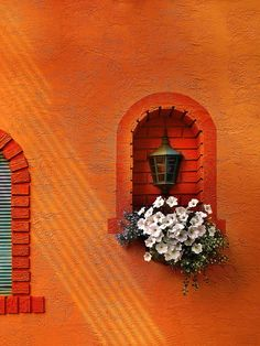 Mykonos by John Poon: I would like to live in an orange house with flowers in the windows. Orange Aesthetic, Aesthetic Colors, Aesthetic Pictures, Aesthetic Collage, Sun Aesthetic, Aesthetic Drawings, Aesthetic Pastel, Flower Aesthetic, Summer Aesthetic