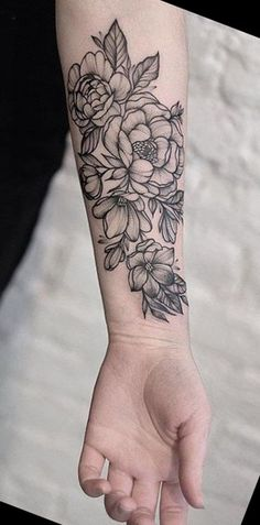 Black Wrist Flower Tattoos - MyBodiArt.com