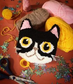 Cute Tuxedo Kitty Punch Needle Cushion project by Nikki McWilliams. As seen on Kirstie's Handmade Christmas 2018 Punch needle cat and dog christmas ornaments handmade with Kirsties Handmade Christmas, Dog Christmas Ornaments, Christmas Punch, Needle Cushion, Cat Cushion, Crochet Projects, Sewing Projects, Craft Projects, Punch Needle Patterns