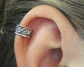 Floral Lace Cartilage Ear Cuff - Sterling Silver. $14.00, via Etsy.