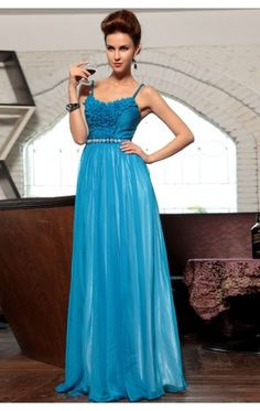 Fancy A-line Floor-length Spaghetti Straps Blue Chiffon Dress