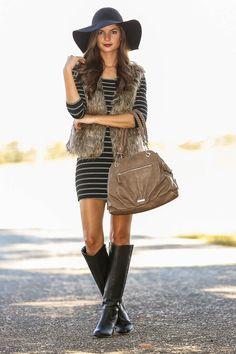 All items in my closet! Striped Dress, Fur Vest, Black Boots, Black Hat...