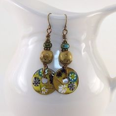 Gold and Brown Flower Donut Enamel Earrings by CinLynnBoutique