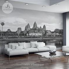 Black and white shot of Angkor Wat in Siem Reap Province wall mural, Cambodia Wall Mural, Landmark Photo Mural, wall mural décor