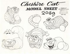 "Model sheet of 'Cheshire Cat' from ""Alice In Wonderland"" Disney, 1950"