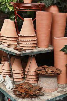 potting table with fabulous pots