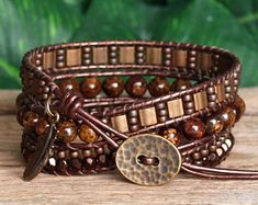 Gemstone Seed Bead and Tila Beaded Leather Bracelet, Bohemian Triple Wrap, Bronzite Bracelet, Bronze Tila Bead Wrap, Artisan Jewelry Beaded Wrap Bracelets, Beaded Jewelry, Jewelry For Her, Jewelry Making, Bohemian Jewelry, Boho, Beaded Leather Wraps, Bracelet Cuir, Bracelet Sizes