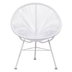 White retro outdoor modern patio chair for dining or entertaining out on the patio deck or balcony this spring/summer.