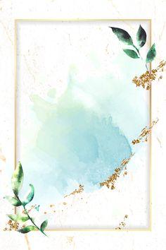 Golden rectangle on blue watercolor background vector premium image by Adj Framed Wallpaper, Flower Background Wallpaper, Flower Backgrounds, Yellow Background, Background Patterns, Wallpaper Backgrounds, Frame Background, Pink Glitter Background, Blog Backgrounds