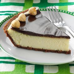 Italian Chocolate-Hazelnut Cheesecake Pie Recipe -I first prepared an Italian-style cheese pie years ago. When I added a chocolate-hazelnut topping, it proved so popular that I had to give out copies of the recipe.—Steve Meredith, Streamwood, Illinois