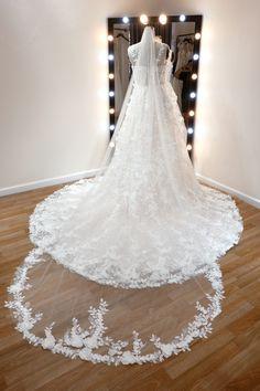 #floralweddingdress #blushweddingdress #bridalgown Custom Wedding Dress, Wedding Dresses, Dress Silhouette, Spaghetti Strap Dresses, Floral Lace, Bridal Gowns, Tulle, Romantic, Bride Dresses