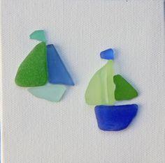 Seaglass Art on Canvas Sailboats Blues and by CoastToCottage Sea Glass Beach, Sea Glass Art, Glass Wall Art, Sea Glass Jewelry, Stained Glass, Sea Crafts, Sea Glass Crafts, Rock Crafts, Plage Art Mural