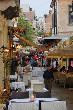 Street of the busy Plaka district in Athens.