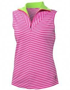 bd3327072b46e pink stripe ladies golf polo with pop of neon green