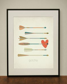 Gotcha Arrows and Heart 11x14 Art Print by ProjectType on Etsy