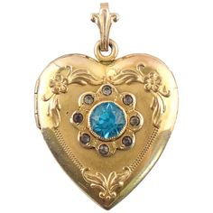 9b6ec67bc Vintage Gold Filled Rhinestone Heart Shaped LOCKET Pendant : Jewelry  Hunters | Ruby Lane Antique Locket
