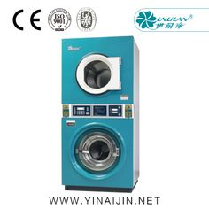 Double stacked coin washer and dryer