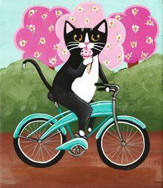 Ice Cream Bicycle Cat Original Folk Art by KilkennycatArt on Etsy
