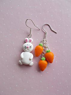 Rabbit and Carrot earrings created from polymer clay without molds or forms. All you need for a nice fall or for a Halloween party. The lenght of each earring is 1.2 cm. ❀ Price is for one pair of earrings. ❀ I ship the orders very quickly, in 1 to 3 days after I receive your order. I ship
