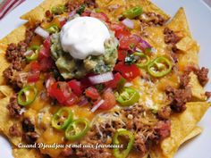 Nachos au Boeuf et Salsa Mexicaine - beef recipe Beef Nachos, Salsa Nachos, Salsa Salsa, Guacamole Salsa, Italian Recipes, Beef Recipes, Mexican Food Recipes, Ethnic Recipes, Pozole