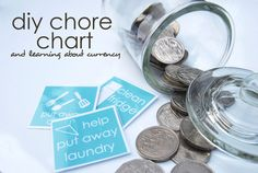 Teaching Currency Using A Chore Chart: a simple chore chart system involving real coins for lots of mathematical learning. Includes printable chore cards