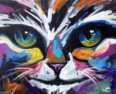 ABSTRACT ORIGINAL COLORFUL CANVAS PAINTING,8X10 IN. CAT FACE MARC BROADwAY