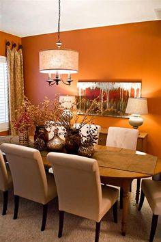 43 Most Popular Dining Room Design and Decorating Ideas Dining Room Decor combined living and dining room decorating Orange Dining Room, Dining Room Paint Colors, Living Room Orange, Dining Room Walls, Dining Room Design, Living Room Interior, Living Room Decor, Living Rooms, Deco Orange