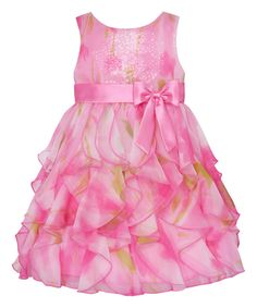Look at this Pink Watercolor Ruffle Tier Dress - Infant, Toddler & Girls on #zulily today!