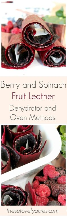 Use your dehydrator or oven to make this delicious berry and spinach fruit leather. #healthysnack #fruits #veggies