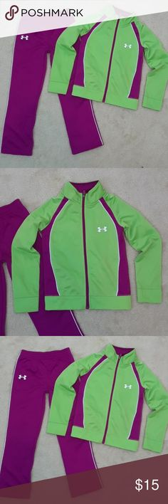 UNDER ARMOUR GIRLS SWEATSUIT Size 6 Pants with elastic waist Zip-up jacket Polyester Under Armour Matching Sets